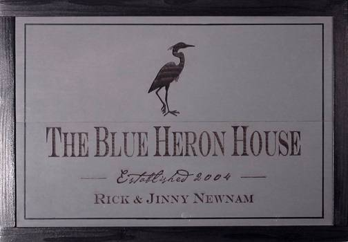 pine wooden home sign featuring great blue heron, house signs